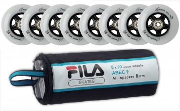 Fila 90mm replacement wheels with Abec 9 and 8mm Alu Spacer