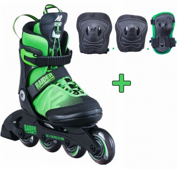 K2 Raider Pro green with protective gear