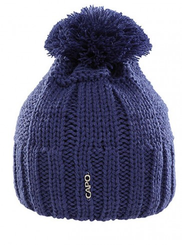 Capo beanie knit cap with white pompom blue