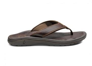 OluKai Ohana luxury leather thong sandal Dark Java