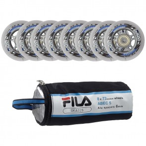 In the picture you can see the same colored Fila 72mm replacement rollers with Abec 5 ball bearings and spacer