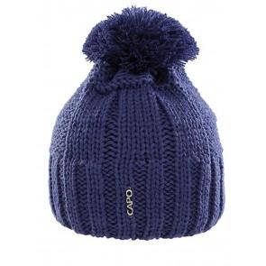 Capo beanie knit cap with white pompom blue