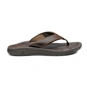 OluKai Ohana luxury leather thong sandal Dark Java