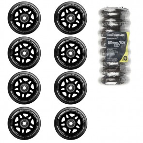 The figure shows Rollerblade 80 mm wheels set. The 84mm wheels are color almost identical.