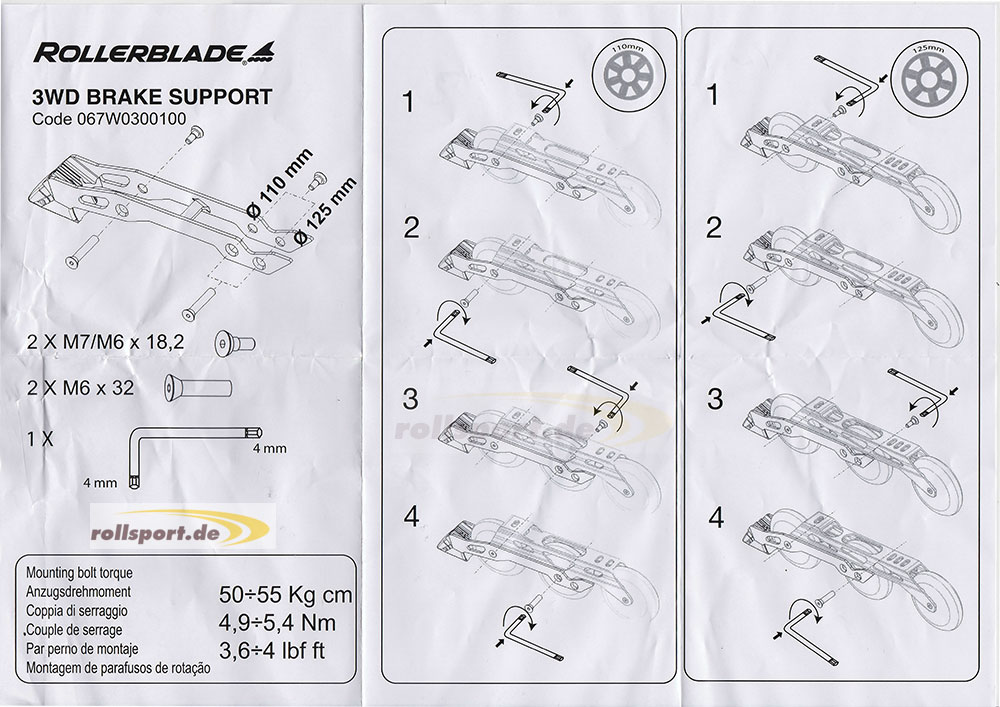 Rollerlbade 3WD brake system 125mm assembly Instructions